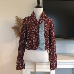 Free People Plum Corduroy Floral Cropped Jacket